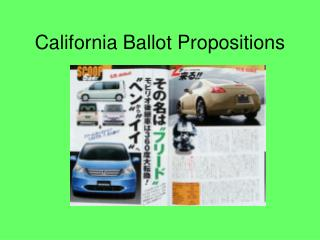 California Ballot Propositions
