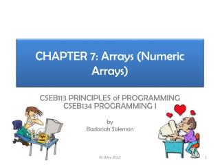 CHAPTER 7: Arrays (Numeric Arrays)