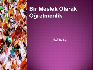 HAFTA 13