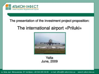 The presentation of the investment project proposition : The international airport  « Priluki »