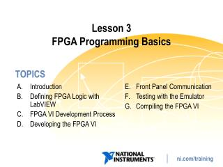 Lesson 3 FPGA Programming Basics