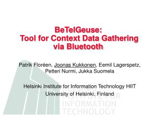 BeTelGeuse:  Tool for Context Data Gathering via Bluetooth