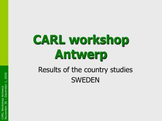 CARL workshop Antwerp