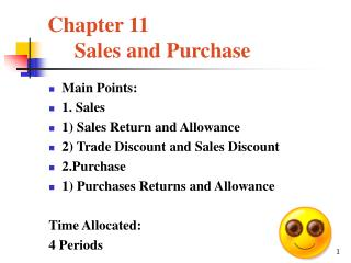 Chapter 11      Sales and Purchase