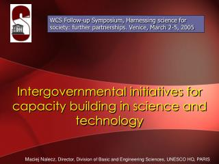Intergovernmental initiatives for capacity building in science and technology