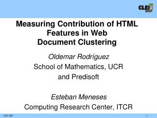 Measuring Contribution of HTML Features in Web Document Clustering