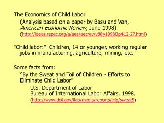 The Economics of Child Labor
