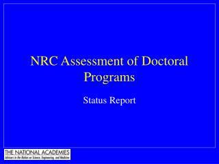 NRC Assessment of Doctoral Programs