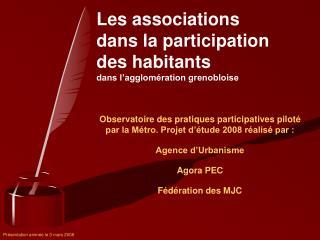 Les associations  dans la participation  des habitants dans l'agglomération grenobloise