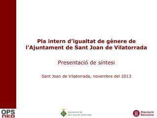 Pla intern d'igualtat de gènere de l'Ajuntament de Sant Joan de Vilatorrada