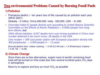 Two  environmental Problems Caused by Burning Fossil Fuels