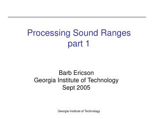 Processing Sound Ranges part 1