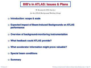 BIB's in ATLAS: Issues & Plans