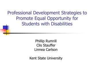 Professional Development Strategies to Promote Equal Opportunity for Students with Disabilities