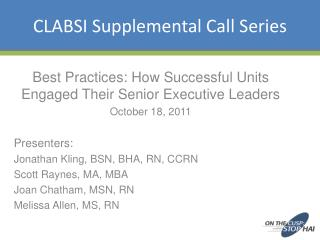 CLABSI Supplemental Call Series
