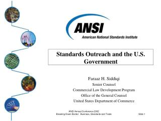 Standards Outreach and the U.S. Government