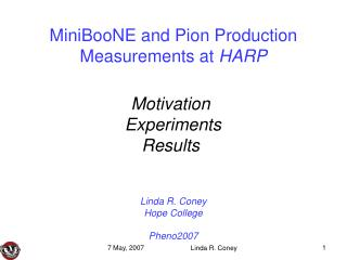 MiniBooNE and Pion Production Measurements at  HARP