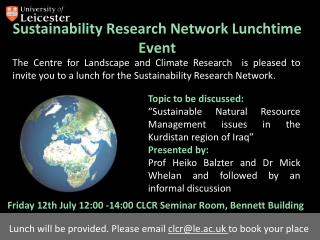 Sustainability Research Network Lunchtime Event