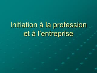 Initiation à la profession et à l'entreprise