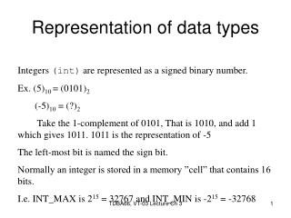 Representation of data types