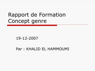 Rapport de Formation Concept genre