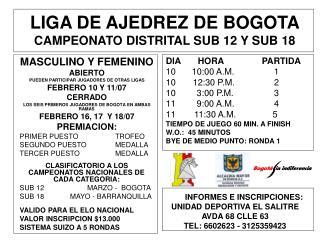 LIGA DE AJEDREZ DE BOGOTA CAMPEONATO DISTRITAL SUB 12 Y SUB 18