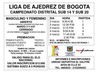 LIGA DE AJEDREZ DE BOGOTA CAMPEONATO DISTRITAL SUB 14 Y SUB 20