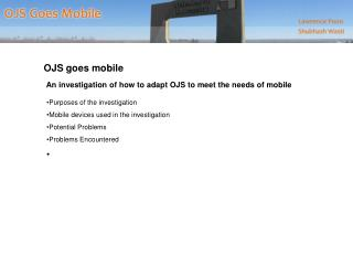 OJS goes mobile  An investigation of how to adapt OJS to meet the needs of mobile