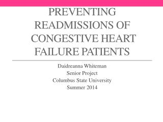 Preventing  Readmissions of  Congestive Heart Failure Patients