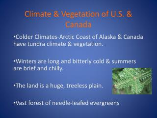 Climate & Vegetation of U.S. & Canada