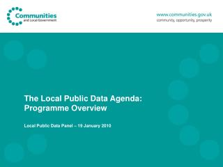 The Local Public Data Agenda:                   Programme Overview