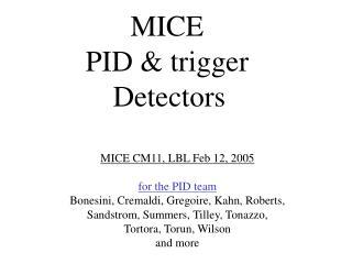 MICE  PID & trigger  Detectors