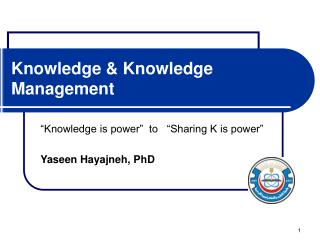 Knowledge & Knowledge Management