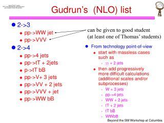 Gudrun's  (NLO) list