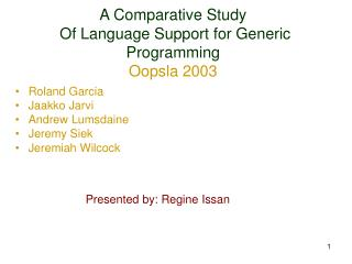 A Comparative Study  Of Language Support for Generic Programming Oopsla 2003