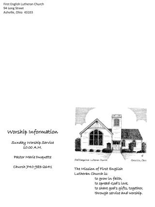 First English Lutheran Church 94 Long Street Ashville, Ohio  43103