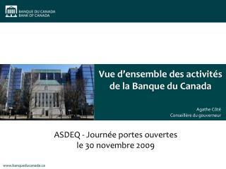 Vue d'ensemble des activités de la Banque du Canada