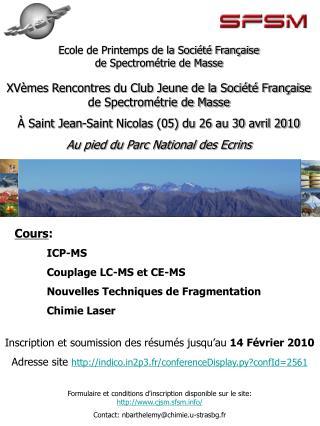 XVèmes Rencontres du Club Jeune de la Société Française de Spectrométrie de Masse