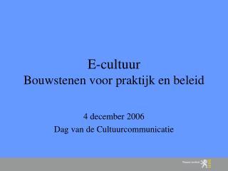 E-cultuur Bouwstenen voor praktijk en beleid