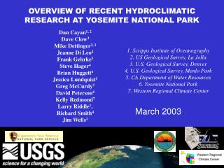 OVERVIEW OF RECENT HYDROCLIMATIC RESEARCH AT YOSEMITE NATIONAL PARK