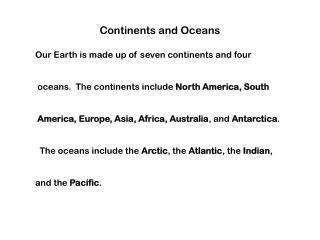 Continents, Oceans, Hemispheres