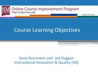 Course Learning Objectives