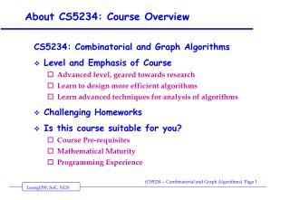 About CS5234: Course Overview