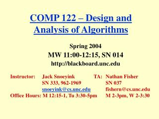 COMP 122 � Design and Analysis of Algorithms