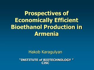 Prospectives of Economically Efficient Bioethanol Production in Armenia