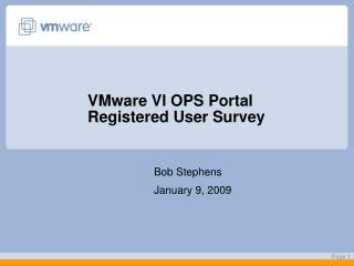 VMware VI OPS Portal Registered User Survey