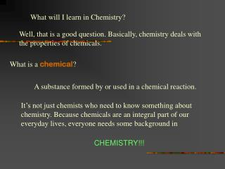 What will I learn in Chemistry?