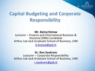 Capital Budgeting and Corporate Responsibility