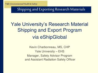 Shipping and Exporting Research Materials