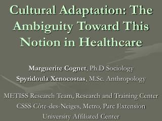 Cultural Adaptation: The Ambiguity Toward This Notion in Healthcare